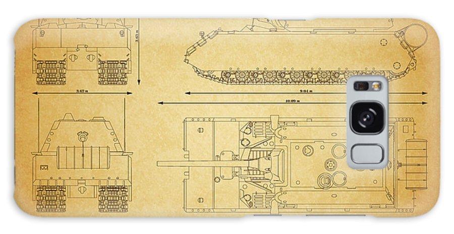 Panzer Of The German Wehrmacht - Blueprint Galaxy S8 Case featuring the digital art Panzerkampfwagen Maus by Marcel Thomas