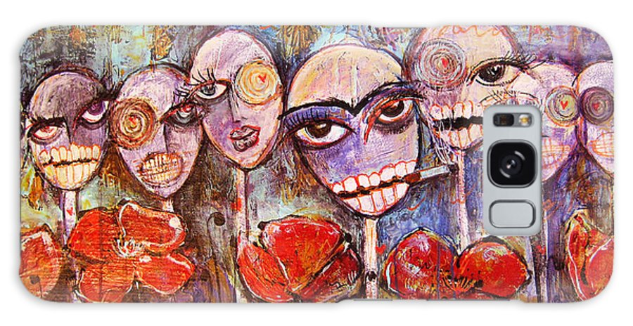 Dia De Los Muertos Galaxy Case featuring the painting 5 Poppies For The Dead by Laurie Maves ART