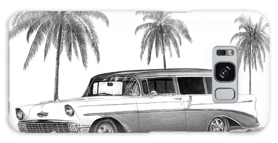 1957 Chevrolet Wagon Galaxy S8 Case featuring the drawing 56 Chevy Wagon by Peter Piatt