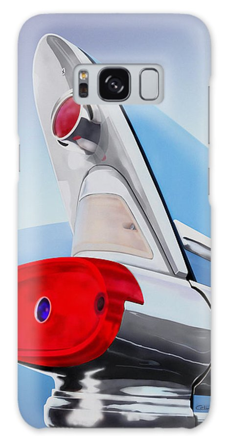 Retro Galaxy S8 Case featuring the painting 57 Pontiac Tail Fin by MOTORVATE STUDIO Colin Tresadern