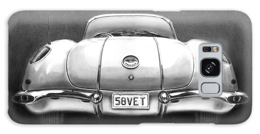1958 Corvette Galaxy S8 Case featuring the drawing 58vet by Peter Piatt