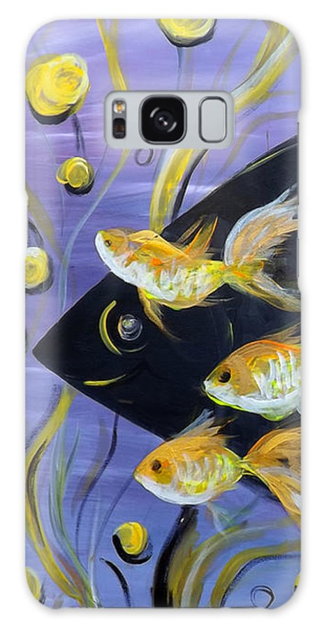 Fish Galaxy Case featuring the painting 8 Gold Fish by Gina De Gorna