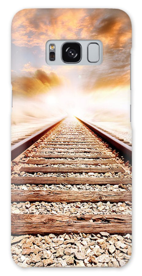 Lines Galaxy S8 Case featuring the photograph Railway Tracks by Les Cunliffe