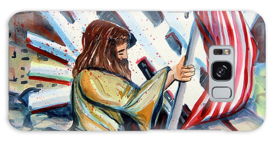 911 Galaxy S8 Case featuring the painting 911 Cries For Jesus by Mindy Newman