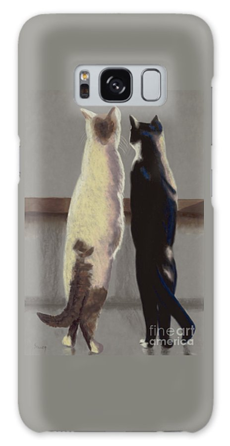 Cat Galaxy S8 Case featuring the painting A Bird by Linda Hiller
