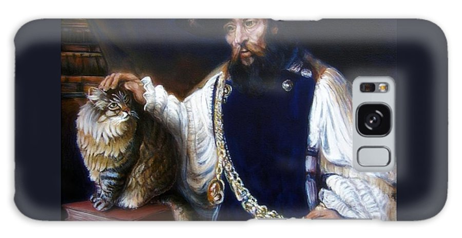 Rembrandt Galaxy S8 Case featuring the painting A Cat For Rembrandt_ Aristotle Caresses Calliope by George I Perez