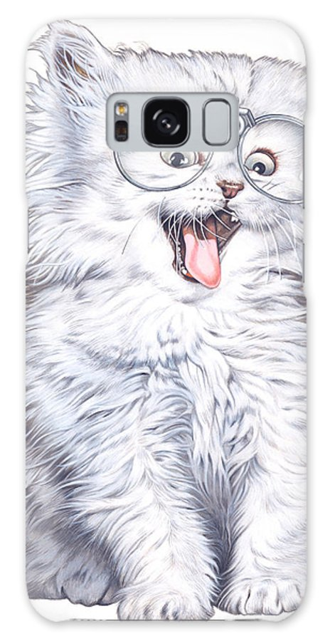 Illustration Galaxy S8 Case featuring the drawing A Cat With Glasses by Shiro Yamaguchi