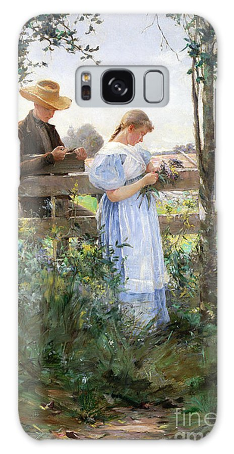 A Country Romance (oil On Canvas) By David B. Walkley (1849-1934) Galaxy S8 Case featuring the painting A Country Romance by David B Walkley