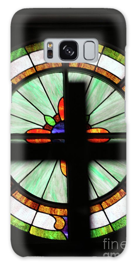 Stain Glass Galaxy S8 Case featuring the photograph A Cross Window by Joy Tudor