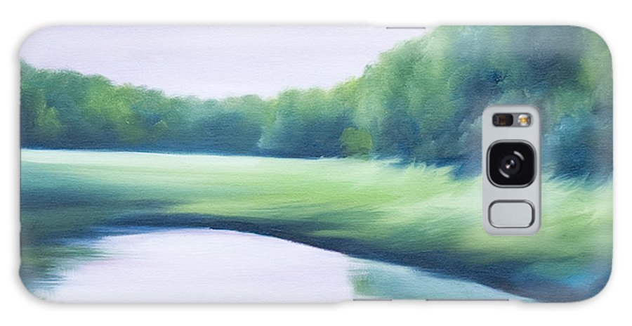 Nature; Lake; Sunset; Sunrise; Serene; Forest; Trees; Water; Ripples; Clearing; Lagoon; James Christopher Hill; Jameshillgallery.com; Foliage; Sky; Realism; Oils; Green; Tree; Blue; Pink; Pond; Lake Galaxy S8 Case featuring the painting A Day In The Life 1 by James Christopher Hill