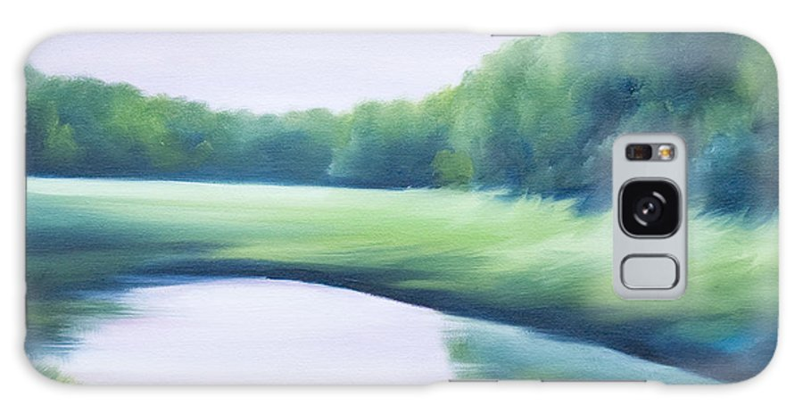 Nature; Lake; Sunset; Sunrise; Serene; Forest; Trees; Water; Ripples; Clearing; Lagoon; James Christopher Hill; Jameshillgallery.com; Foliage; Sky; Realism; Oils; Green; Tree; Blue; Pink; Pond; Lake Galaxy Case featuring the painting A Day In The Life 1 by James Christopher Hill