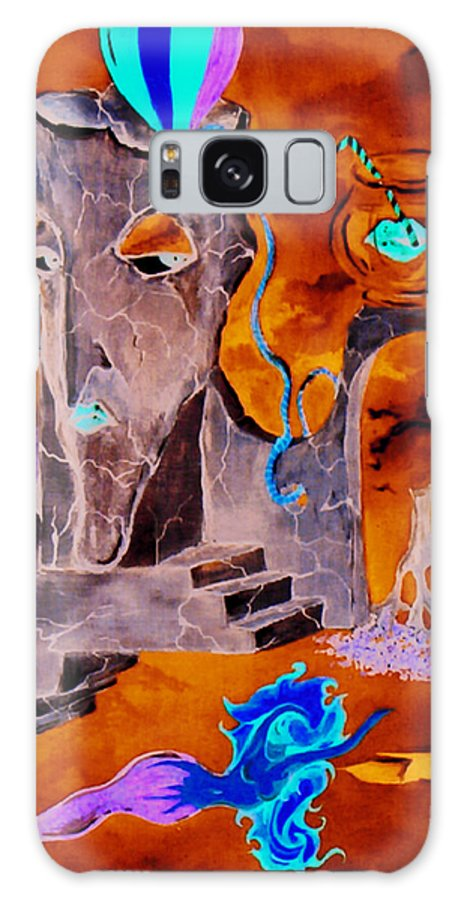 Surreal Sky Mermaids Trees Stairs Heaven Galaxy Case featuring the painting A Few Seconds In My Head by Veronica Jackson