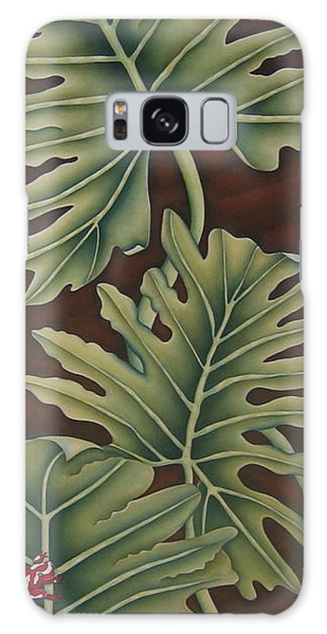 Frog Galaxy S8 Case featuring the painting A Frog On A Philodendron by Jeniffer Stapher-Thomas