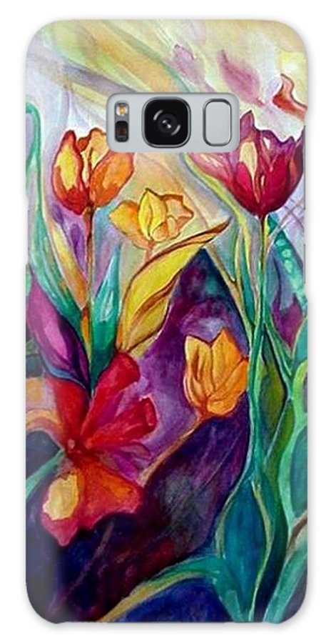 Floral Galaxy Case featuring the painting A Garden Full Of Delights by Carolyn LeGrand
