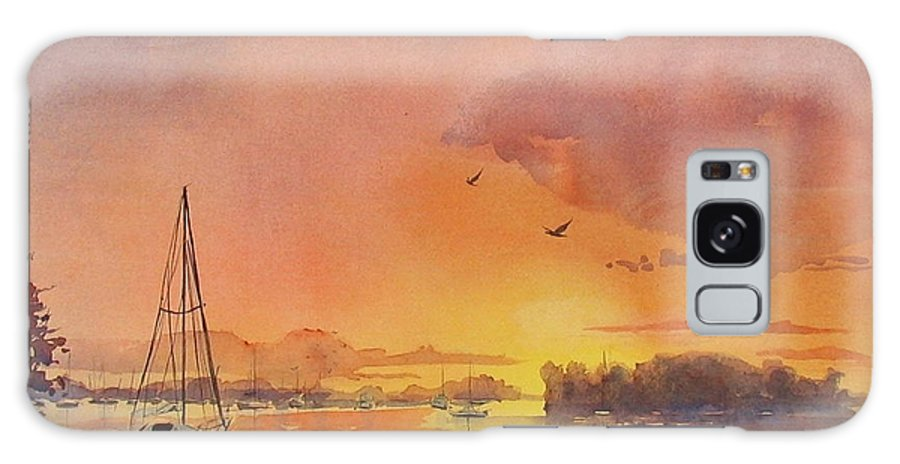 Seascape Galaxy Case featuring the painting A Hingham Sunset by Laura Lee Zanghetti
