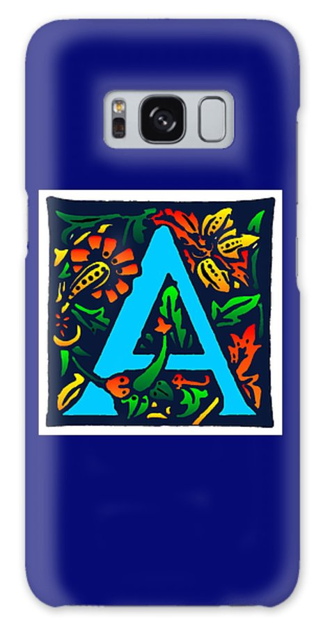 Alphabet Galaxy S8 Case featuring the digital art A In Blue by Kathleen Sepulveda