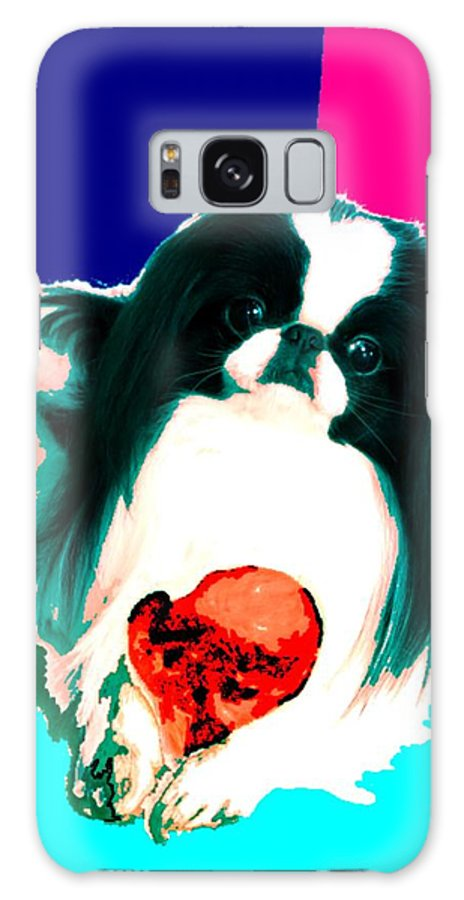 A Japanese Chin And His Toy Galaxy Case featuring the digital art A Japanese Chin and His Toy by Kathleen Sepulveda