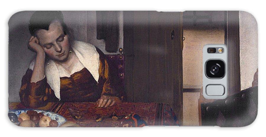 Jan Vermeer Galaxy S8 Case featuring the painting A Maid Asleep by Jan Vermeer