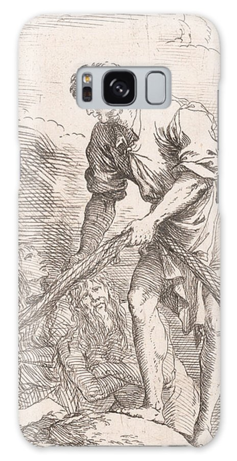 17th Century Art Galaxy S8 Case featuring the relief A Man Pulling A Net With Two Figures Behind Him by Salvator Rosa