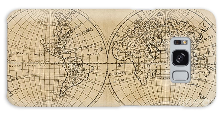 Vintage Map Galaxy S8 Case featuring the drawing A Map Of The World With The Voyage Of Robinson Crusoe by English School