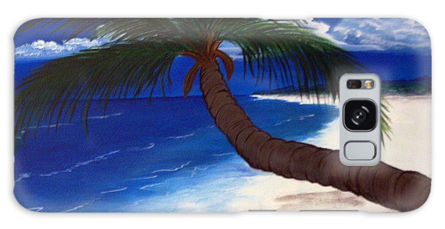 Palm Galaxy S8 Case featuring the painting A Palm On The Coast by Nancy Nuce