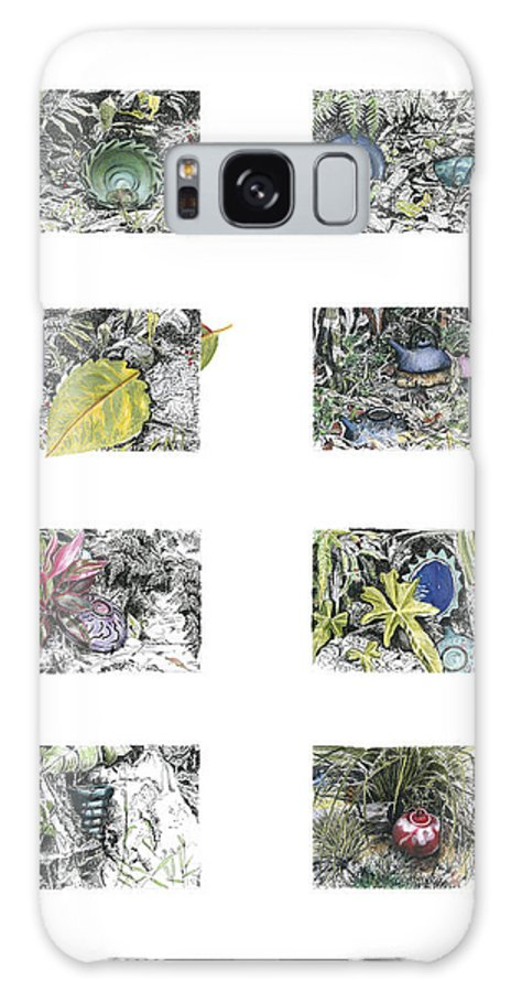 Tropical Galaxy Case featuring the drawing A Potters Garden by Kerryn Madsen-Pietsch