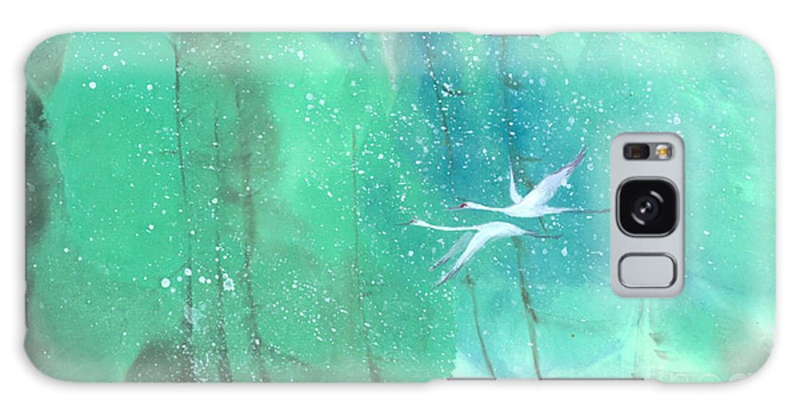 This Is A Contemporary Chinese Ink And Color On Rice Paper Painting With Simple Zen Style Brush Strokes. A Pair Of Graceful Cranes Flying In The Snowy Forest. Galaxy S8 Case featuring the painting A Quiet Song by Mui-Joo Wee