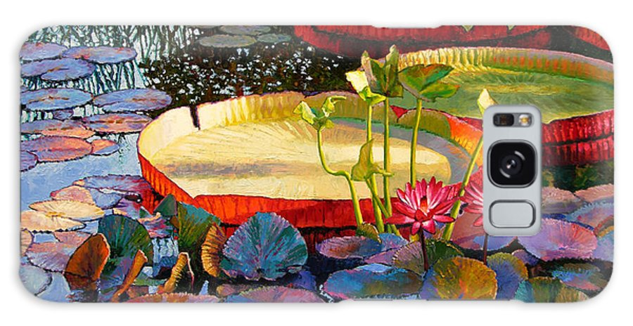 Garden Pond Galaxy S8 Case featuring the painting A Quiet Summer Morning by John Lautermilch