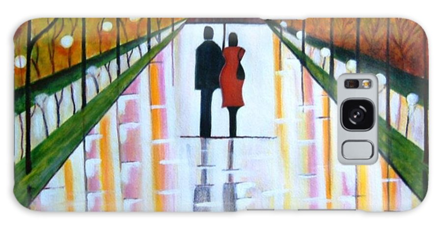 Romantic Painting Figures Romance Umbrella Rain Green Red Orange Grass People Lights Park Garden Tree Reflection Path Valentine Love Galaxy S8 Case featuring the painting A Rainy Dayii by Manjiri Kanvinde