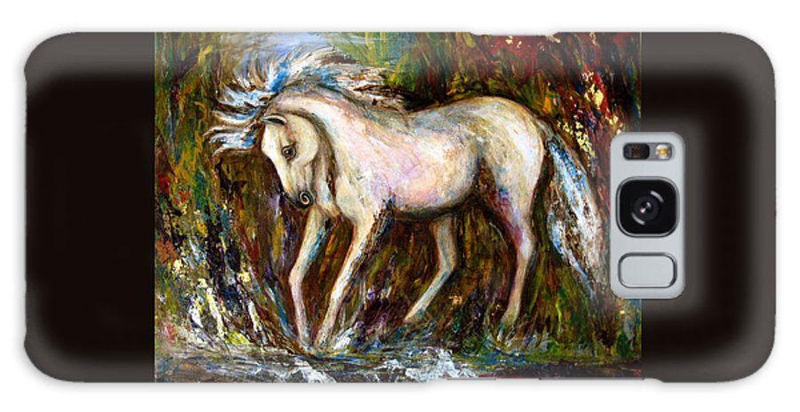 Horse Painting Galaxy Case featuring the painting A Secret Place White Hores Painting by Frances Gillotti