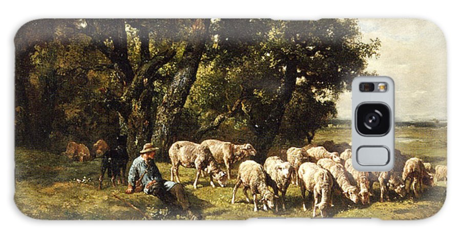 A Shepherd And His Flock Galaxy Case featuring the painting A shepherd and his flock by Charles Emile Jacques