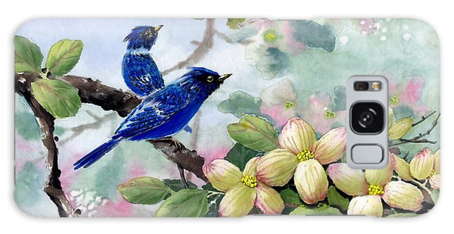 Blue Jays Galaxy S8 Case featuring the painting A Touch Of Pink On White by Eileen Fong