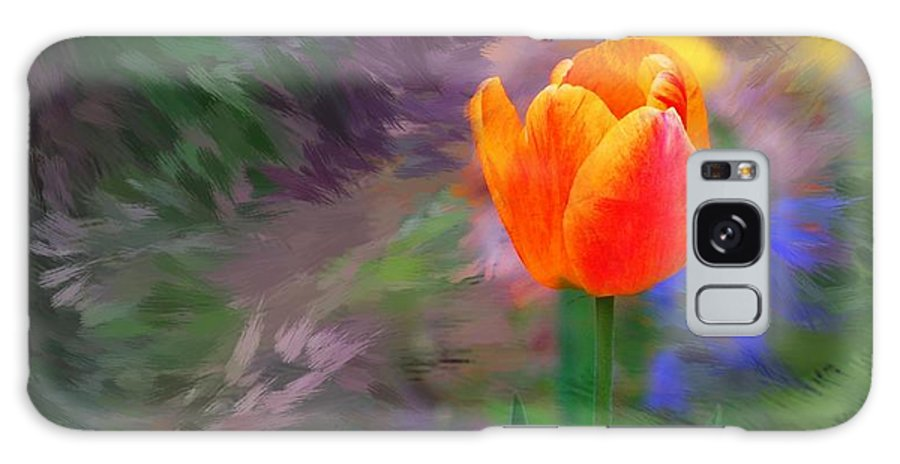 Floral Galaxy S8 Case featuring the digital art A Tulip Stands Alone by David Lane