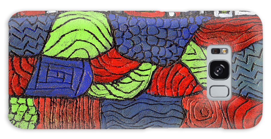 Whimsical Galaxy Case featuring the painting A Very Colorful Neighborhood by Wayne Potrafka
