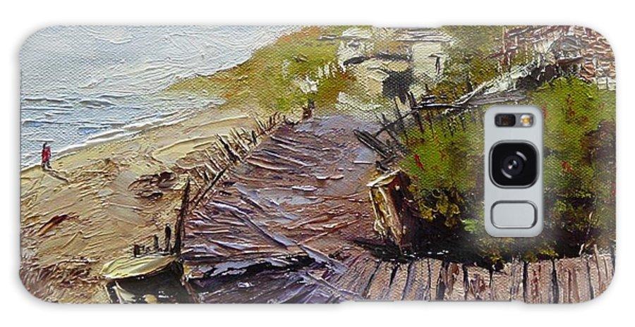 Beach Galaxy Case featuring the painting A Walk On The Beach by Barbara Andolsek