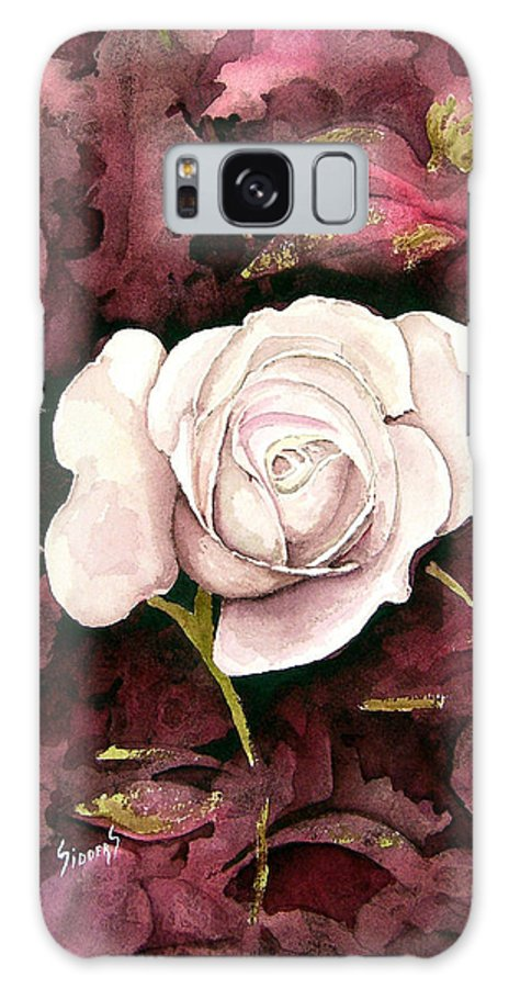 Flower Galaxy S8 Case featuring the painting A White Rose by Sam Sidders