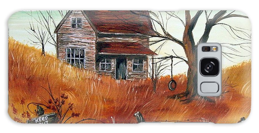 Landscape Galaxy S8 Case featuring the painting Abandoned Farmhouse by Quwatha Valentine