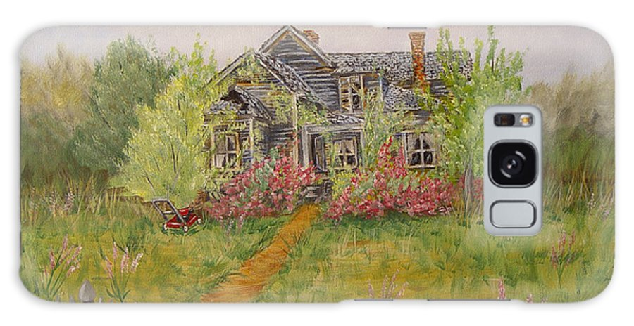Landscape Galaxy Case featuring the painting Abandoned House by Quwatha Valentine