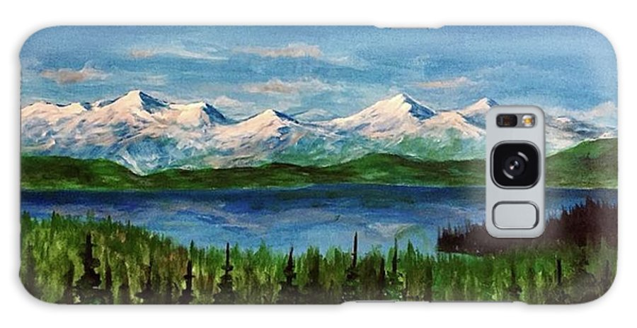 #flatheadlake #flathead #montana #montanaartist #mountains #lake #trees Galaxy S8 Case featuring the painting Above The Flathead by Sarah Kleinhans
