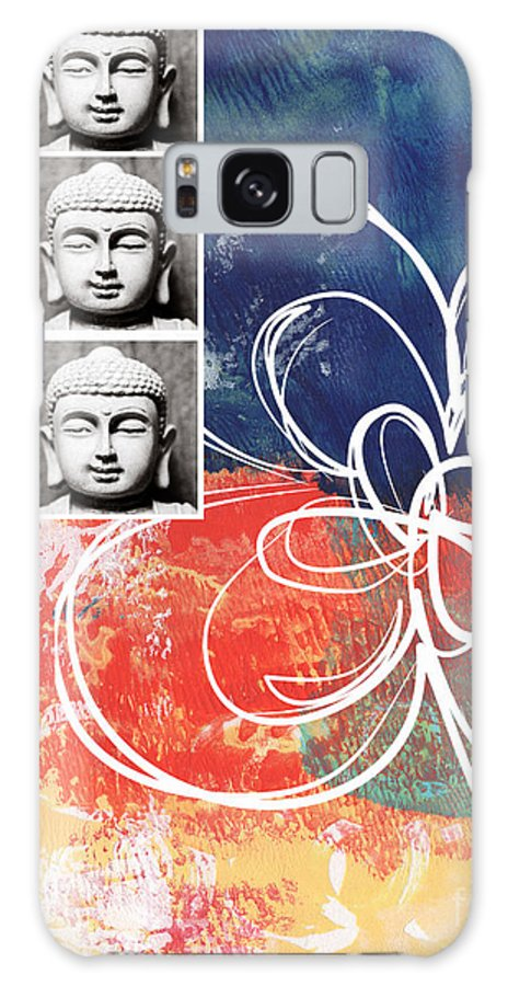 Buddha Galaxy S8 Case featuring the mixed media Abstract Buddha by Linda Woods