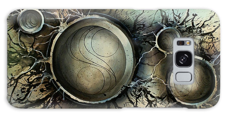 Abstract Design Blues Grays Browns Circles Spheres Round Modern Contemporary Decor Design Galaxy S8 Case featuring the painting Abstract Design 45 by Michael Lang
