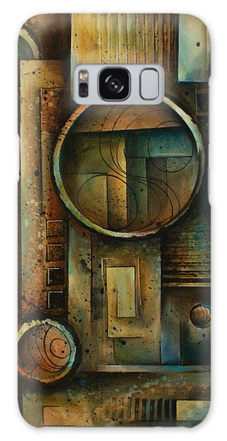 Abstract Design Geometric Shapes Cubism Green Blue Earth Tones Steps Galaxy S8 Case featuring the painting Abstract Design 64 by Michael Lang