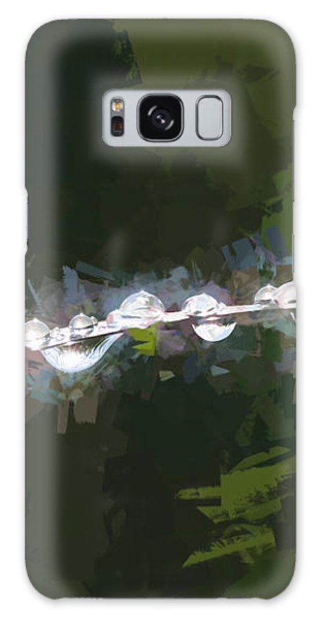 Dew Galaxy S8 Case featuring the photograph Abstract Dew On Reed by Dave Oliver