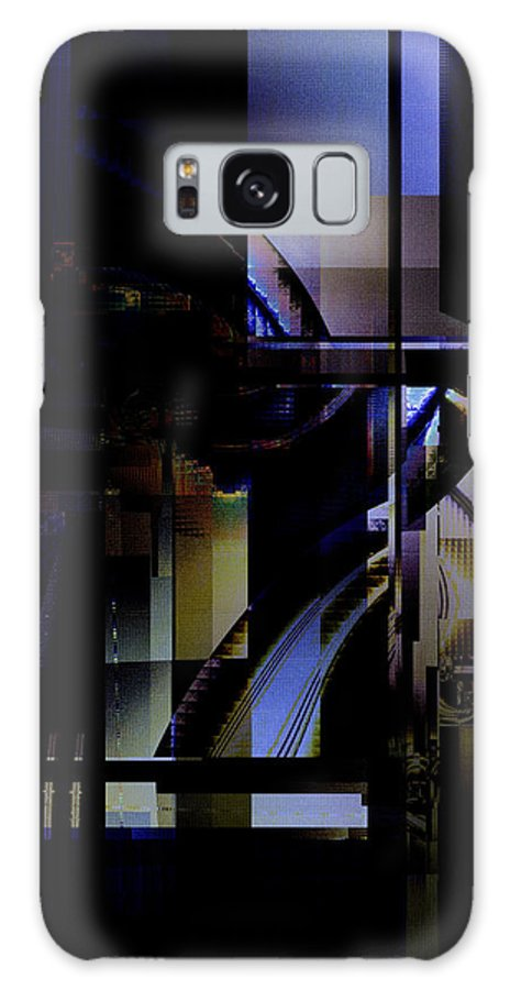 Fractal Galaxy S8 Case featuring the digital art Abstract In Blue-dark Towers by Richard Ortolano