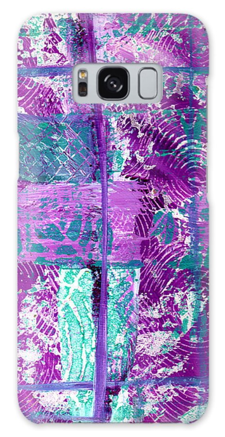 Abstract Galaxy S8 Case featuring the painting Abstract In Purple And Teal by Wayne Potrafka
