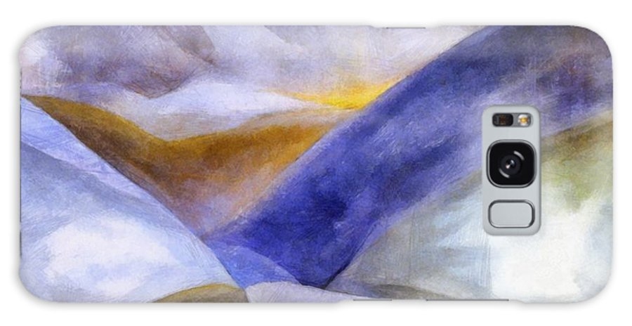 Blue Galaxy Case featuring the painting Abstract Mountain Landscape by Michelle Calkins