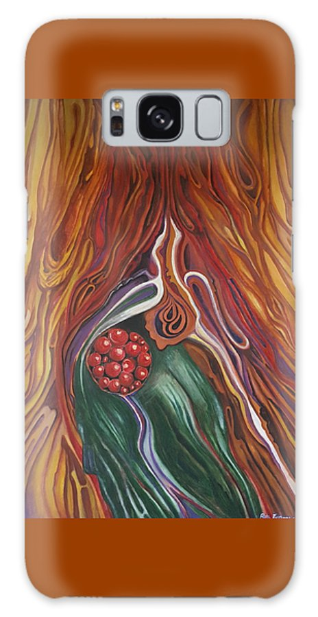 Abstract Galaxy S8 Case featuring the painting Abstraction With Red Balls by Rita Fetisov