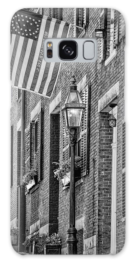 Acorn Street Galaxy S8 Case featuring the photograph Acorn Street Details Bw by Susan Candelario