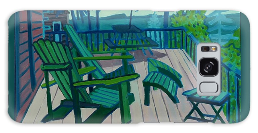 Ocean Galaxy Case featuring the painting Adirondack Chairs Maine by Debra Bretton Robinson