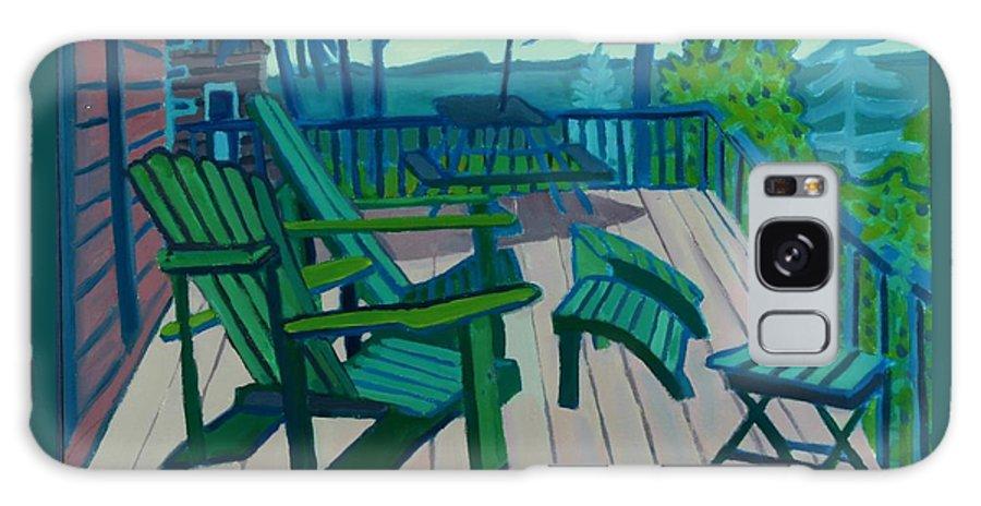 Ocean Galaxy Case featuring the painting Adirondack Chairs Maine by Debra Bretton Robinson